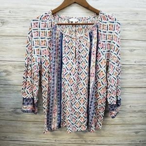 Lucky Brand Blue and White Pattern Blouse
